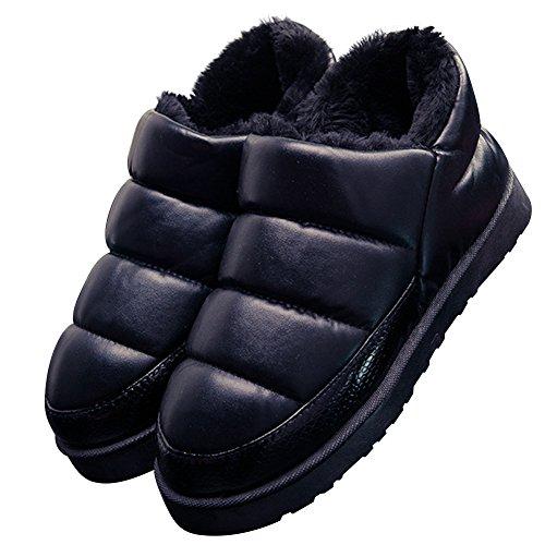 Herren Damen Winterschuhe Warm Gefütterte Plüsch Pantoffeln Hausschuhe Winter Indoor Rutschfeste Weiche Slippers,Schwarz 39/40