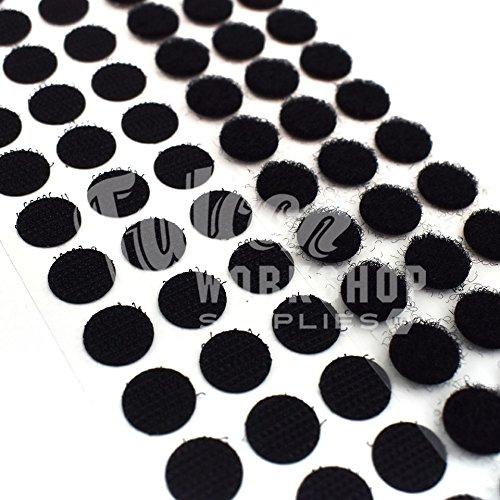 GENUINE VELCRO® BRAND 13mm 22mm  DOTS BLACK SELF ADHESIVE COINS PS14 HOOK LOOP