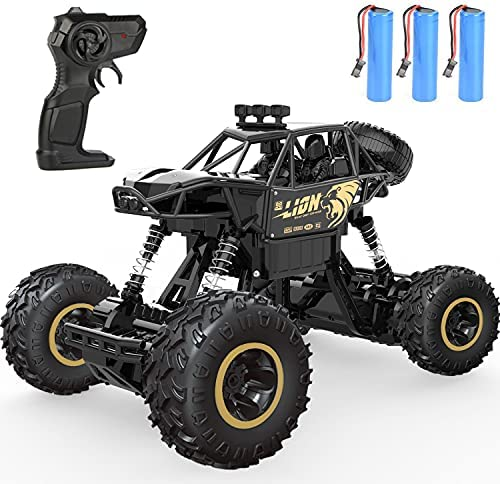 4DRC C3 RC Cars Remote Control Off Road Monster Truck, Metal Shell 2.4Ghz 4WD Dual Motors, All Terrain Hobby Truck with 3 Batteries for 120 Min Play Boy Adult Gifts Toys,Black