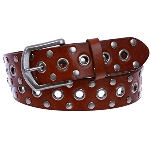 Snap On Soft Hand Oil-Tanned Vintage Grommets & Studs Solid Leather Belt, Brown/Silver | M (33