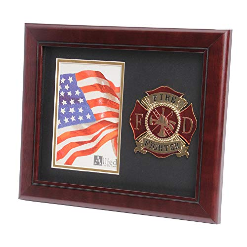 Firefighter Wood Frame - Allied Frame US Firefighter Medallion Portrait Picture Frame - 4 x 6 Picture Opening