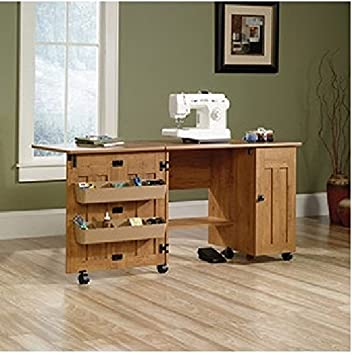 This Sewing And Craft Table With Drop Leaf Table And Shelves And Storage Is  Made In