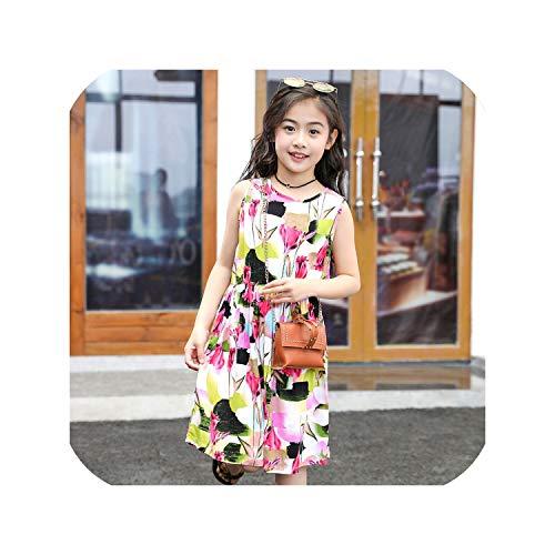 Dress Vestidos Baby Kids Teenager Casual Flower Print Beach Summer Dresses Girl,Style Five,2T -