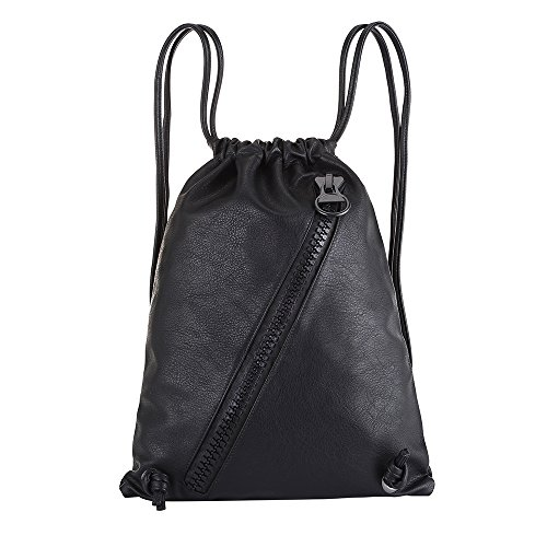 Leather Backpack Fashion Drawstring Bag Casual Schoolbag Daypacks Purse for women Girls (Drawstring Backpack Leather)