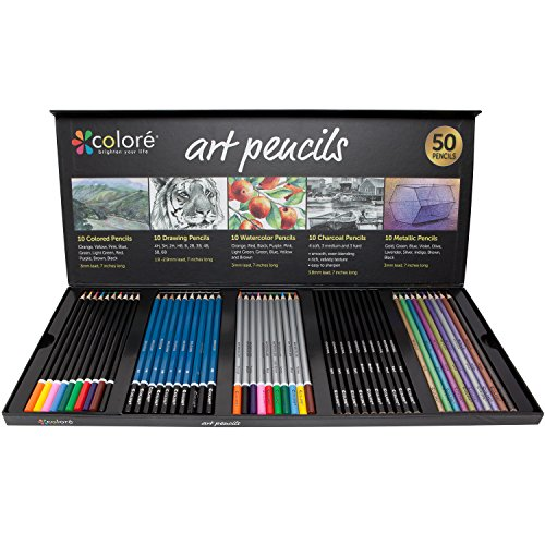 Large Product Image of Colore Premium Art Pencils Pack – 50 Assorted Pencil Set For Coloring Pages & Books – Colored, Watercolor, Drawing, Charcoal and Metallic Color Pencils For Students, Kids & Adults School Supplies
