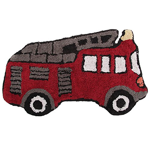 Mucky Fingers Childrens Boys Fire Engine Shaped Bedroom Floor Rug/Mat (29 x 18in) (Red)