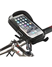 Bike Handlebar Bag, Universal Waterproof Bicycle Cell Phone Pouch Motorcycle Handlebar Phone Mount Holder Cradle with 360 Rotate for iPhone 12 11 Pro Max XS XR X 8 Plus Samsung Smartphone up to 6.5''