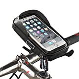 MOOZO Bike Handlebar Bag, Universal Waterproof Cell Phone Pouch Bicycle & Motorcycle Handlebar Phone Mount Holder Cradle with 360 Rotate for iPhone Samsung HTC LG Smartphones up to 6'' (Black)