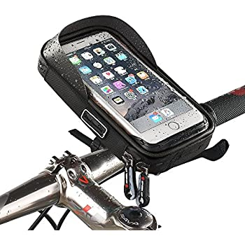 MOOZO Bike Handlebar Bag, Universal Waterproof Cell Phone Pouch Bicycle & Motorcycle Handlebar Phone Mount Holder Cradle with 360 Rotate for iPhone Samsung ...