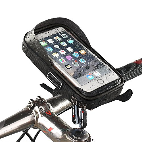 MOOZO Bike Handlebar Bag, Universal Waterproof Cell Phone Pouch Bicycle & Motorcycle Handlebar Phone Mount Holder Cradle with 360 Rotate for iPhone Samsung HTC LG Smartphones up to 6\'\' (Black) ()