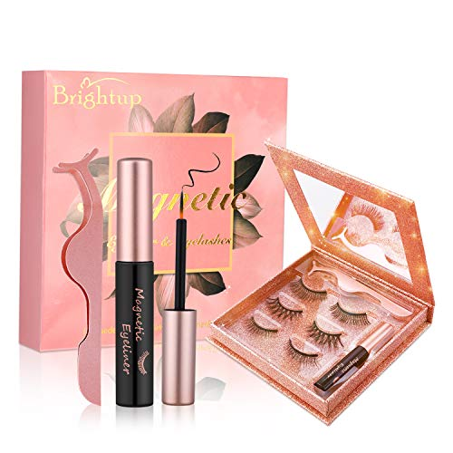 Brightup Magnetic Eyelashes with Eyeliner, 3D Natural Look Reusable False Magnetic lashes Kit, Long Lasting Waterproof…
