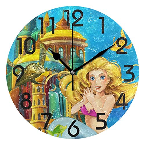 Dozili Cartoon Fantasy Underwater Kingdom Beautiful Mermaid Print Silent Round Wall Clock Arabic Numerals Design Non Ticking Wall Clock Large for Bedrooms,Living Room,Bathroom (Room Design Pbteen)