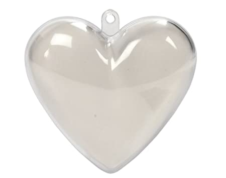 10 two part 65mm heart shaped fillable plastic christmas bauble