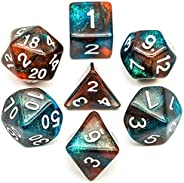 UDIXI 7PCS Polyhedral DND Dice Set, Glitter 2 Colors D&D Dice, for Role Playing Dice Games as Dungeons and