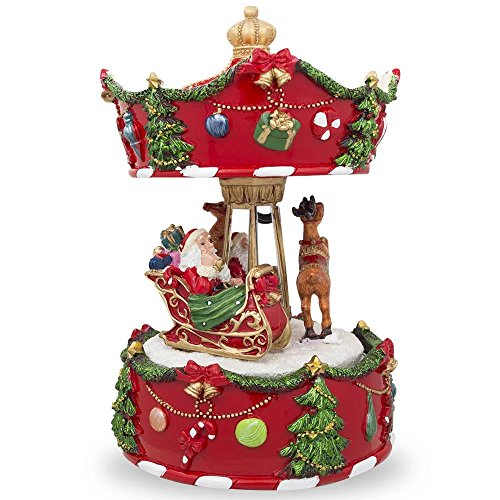 bestpysanky 7 animated rotating carousel santa and reindeer christmas musical box figurine