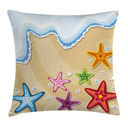 """Ambesonne Ocean Throw Pillow Cushion Cover, Coastal Theme Colorful Sea Life Stars on The Sand Pattern Artwork Print, Decorative Square Accent Pillow Case, 16"""" X 16"""", Brown Blue"""