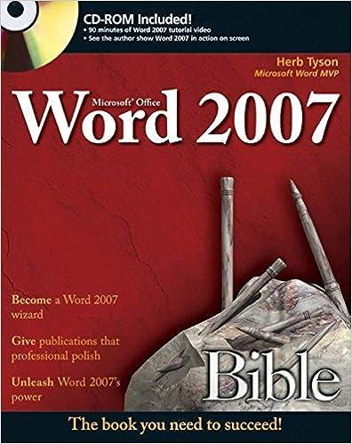 Microsoft word 2007 bible herb tyson 9780470046890 amazon books microsoft word 2007 bible 1st edition fandeluxe Image collections