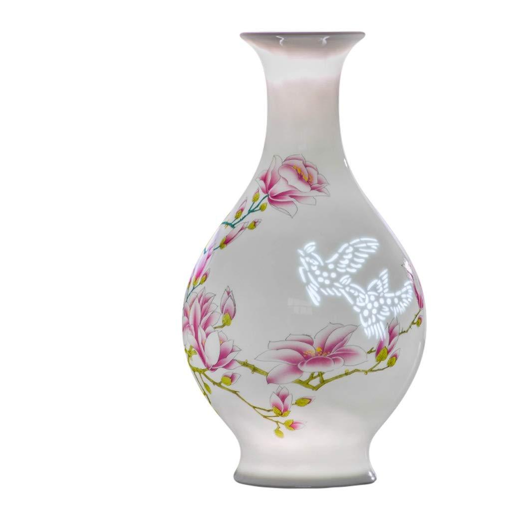 LIULIJUN 花瓶セラミック手描きフラワーアレンジメント中国の家のポーチリビングルームのテーブルデコレーションテレビキャビネット花瓶の装飾 (Edition : A) B07TB164RV  A