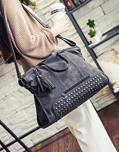 pu Tote Designer Hobo Fashion Womens Leather Large Embossed Purse Black Handbag zwWqTtB