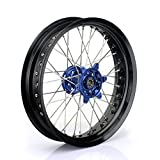TARAZON 17x3.5 Front Supermoto Complete Wheel Set Rim Spokes Blue Hub for Yamaha YZ250F YZF250 2007-2013 YZ450F YZF450 2008-2013 YZ125 YZ250 2008-2015