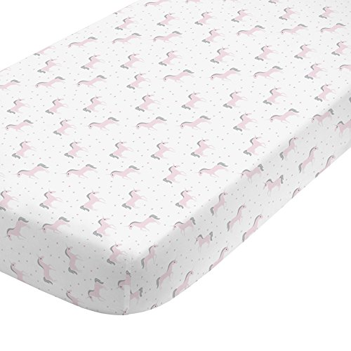 tton Sateen Fitted Crib Sheet, White/Pink/Silver ()