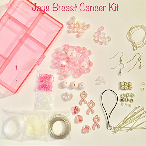 100 Piece Breast Cancer Awareness Jewelry Making Kit, Glass,Swarovski Crystals, Tibetan/Sterling Silver,Charms, Varies of Size 4mm to 24mm,Findings