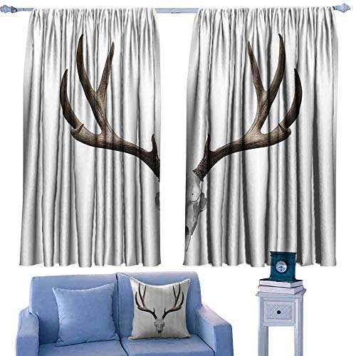 Mannwarehouse Soft Curtain Antlers Decor A Deer Skull Skeleton Head Bone Halloween Weathered Hunter Collection Noise Reducing 63