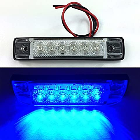 LONG HAUL CLEAR BLUE LED SLIM LINE LED UTILITY STRIP LIGHT 6 LEDS 4