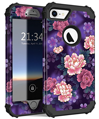 iPhone 7 Case, Hocase Drop Protection Shock Absorbing Silicone Rubber Bumper+Hard Shell Hybrid Dual Layer Full-Body Protective Case for Apple iPhone 7 (4.7-inch) 2016 - Voilet Flowers / Black