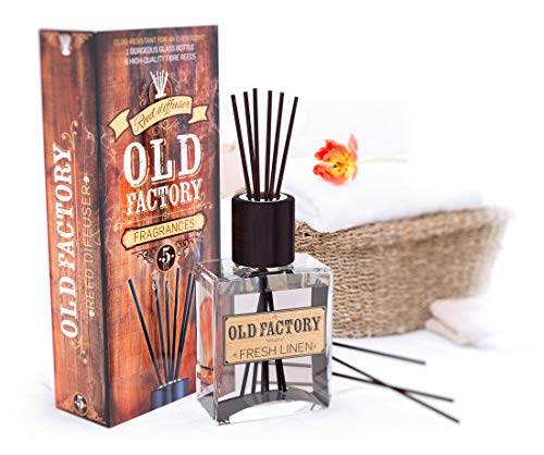 Old Factory Reed Diffuser Set - Fresh Linen - Essential Oil Aromatherapy Scent Bottle and 6 Clog-Resistant Fiber Reeds - Premium Scented Diffusers for Oils - 5oz by Old Factory