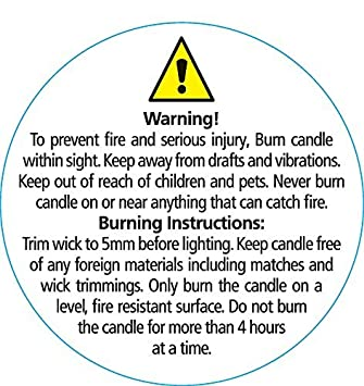 image about Free Printable Candle Warning Labels named Candle Caution Labels - Very low Spherical 35mm dia