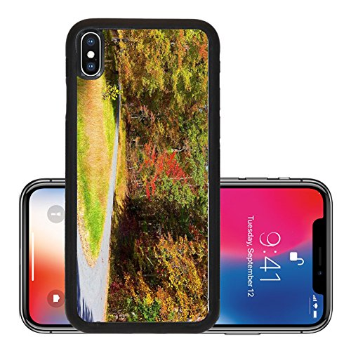 Liili Premium Apple iPhone X Aluminum Backplate Bumper Snap Case US National Arboretum in the Fall Washington DC Road framed by colorful autumn trees in the dense thicket - Stores Arboretum In