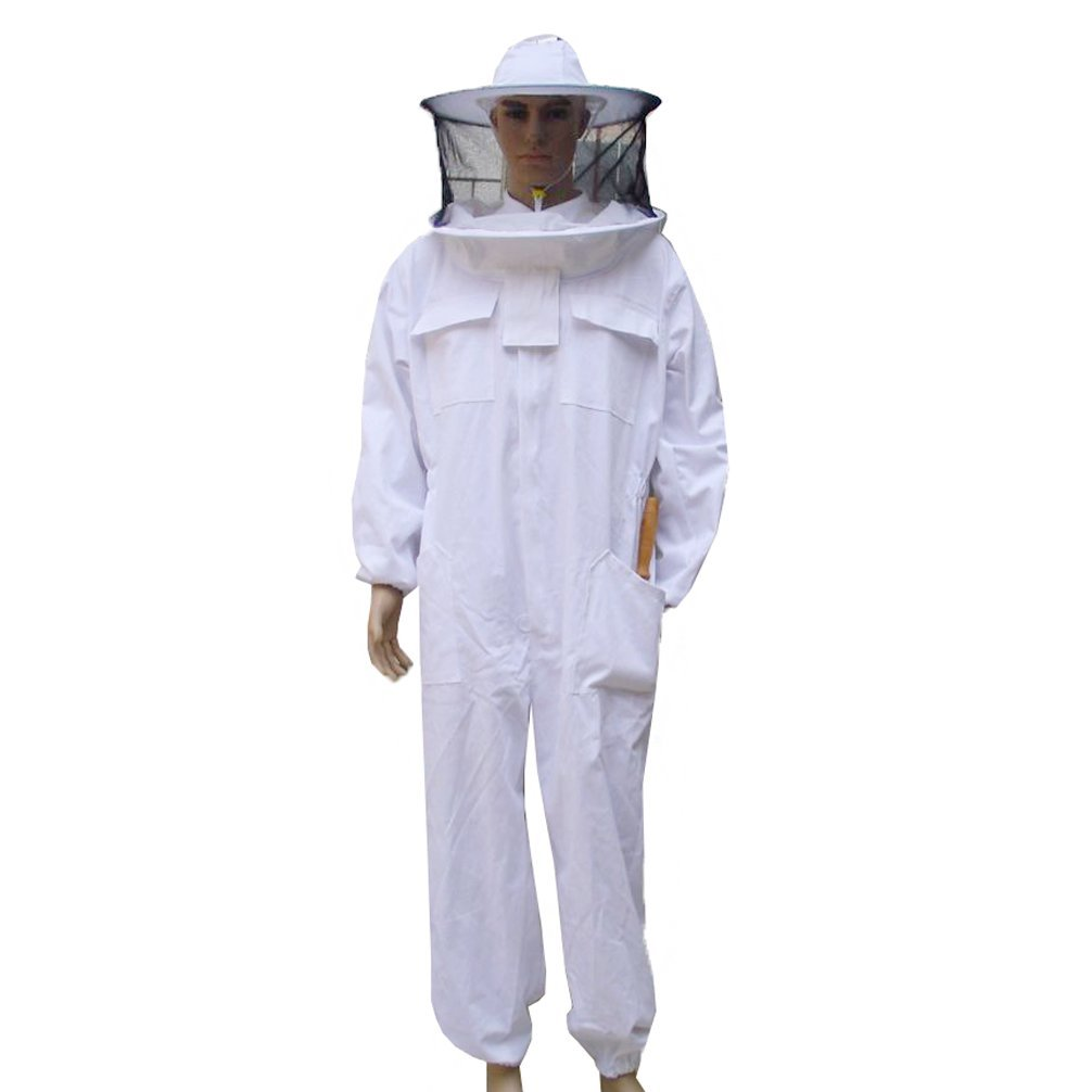 Luwint Adult Full Body Beekeeping Suits – Round Fencing Veil Hood Cotton Ventilated Bee Beekeeper Suit for Men Women (XXL)