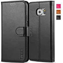 TUCCH Galaxy S6 Case Leather Wallet Case for Samsung Galaxy S6, Flip Book Case [Lifetime Warranty] with Stand Feature, Credit Card Slots and Money Pocket, Magnetic Clasp (Black)