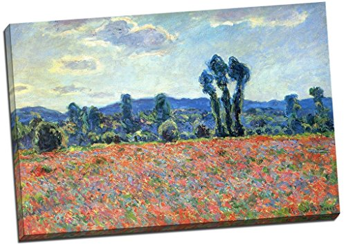 (Panther Print Claude Monet Poppy Field In Giverny Canvas Print Picture Wall Art Large 30X20 Inches)