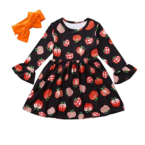 Lovely 2PCS Toddler Kid Girl Clothes Fashion Long Sleeve Pumpkin Print Dresses+Headband Girls Outfits Halloween Set Black 18M]()