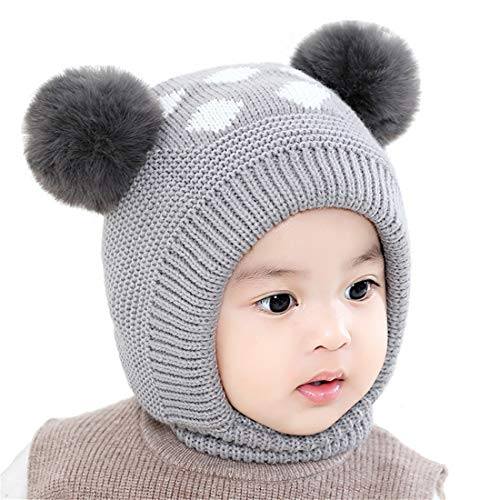 Bonvince Baby Girls Boys Winter Warm Hat Beanies Caps Cute Thick Earflap Hood Hat Scarves Skull Caps Grey ()