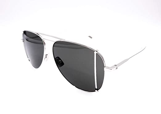 6a07a25ae9f Image Unavailable. Image not available for. Color: Saint Laurent SL 193 T  Cut 001 Silver Metal Aviator Sunglasses Green Lens