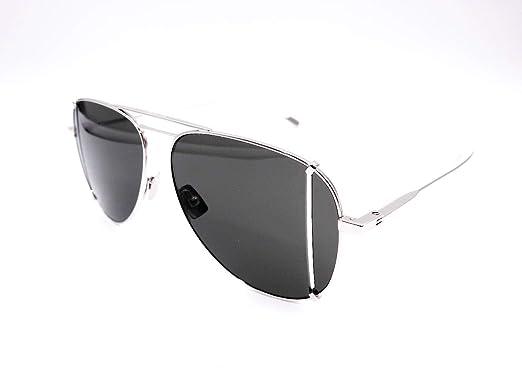 9328def99cec3 Image Unavailable. Image not available for. Color  Saint Laurent SL 193 T  Cut 001 Silver Metal Aviator Sunglasses ...