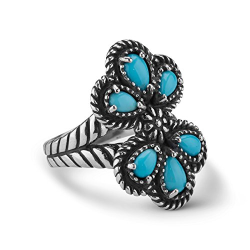 (American West Sleeping Beauty Turquoise Cluster Ring)