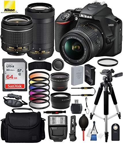 "Nikon D3500 DSLR Camera with 18-55mm Lens, Nikon AF-P 70-300mm Lens and 18PC Accessory Bundle – Includes SanDisk Ultra 64GB SDHC Memory Card + Digital Slave Flash + 57"" Tripod + More from Nikon"