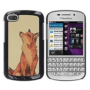 FlareStar Colour Printing Red Fox Clever Vignette Yellow Cute cáscara Funda Case Caso de plástico para BlackBerry Q10