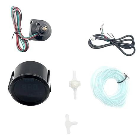 """Jili Online Digital Turbo Boost Gauge Meter with Sensor for Auto Car 52mm 2"""" LED"""