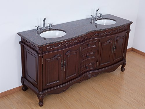 72 inch Double Sink Bathroom Vanity Set Antique Brown Wooden Cabinet with Baltic brown Marble Top