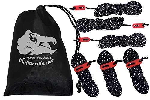 Chill Gorilla 4mm 78' REFLECTIVE TENT GUIDE ROPE GUY LINE CORD & Adjusters. Lightweight, Rain Tarps, Tents, Hiking, Backpacking. Essential Camping & Survival Gear. ENO Accessory. Black - Guys Accessories