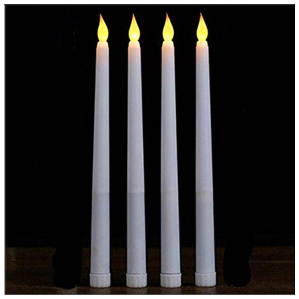 LacGo (Pack of 4) 11 inch LED Flameless Taper Candle for Dinner, Flickering Flameless Tapered Candles,Battery Operated LED Centerpieces Table Settings Weddings Birthday Parties