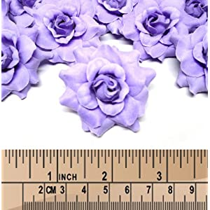 """(100) Silk Purple Roses Flower Head - 1.75"""" - Artificial Flowers Heads Fabric Floral Supplies Wholesale Lot for Wedding Flowers Accessories Make Bridal Hair Clips Headbands Dress 3"""
