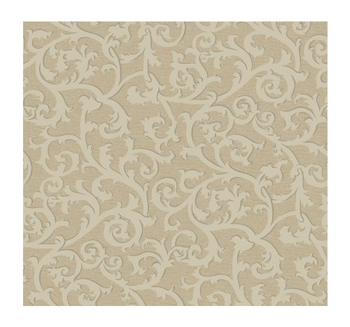 York Wallcoverings KC1853SMP French Dressing Scroll with Texture 8-Inch x 10-Inch Wallpaper Memo Sample, Golden Tan/Bisque