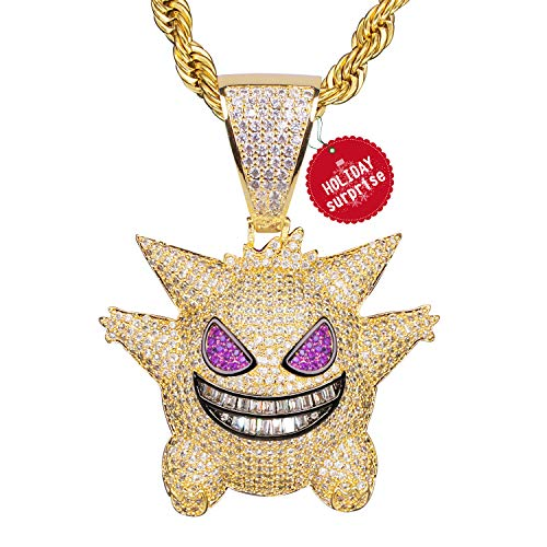 - TSANLY Diamond Chain Gengar Chain Pokemon Necklace Gold Plated with Killy Gold Pendant Ice Out Medallion 24
