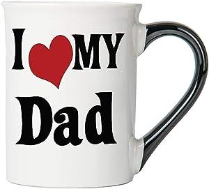 Cottage Creek Coffee Mug, I Love My Dad Coffee Mug, Large Ceramic 18Oz Dad Coffee Cup, Dad Mug [White]